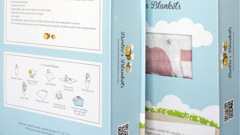 Bertie's Blankets Packaging Design and Illustration